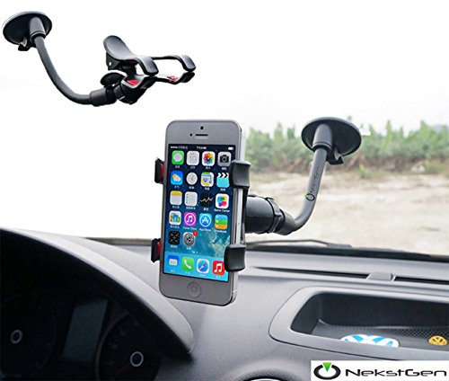 Adjustable Boat Stands (Universal Long Armed Double Clip Phone Cradle Holder Mount Stand for Cars/Boats Fits up to 6-Inch Smartphones, Samsung Phones, iPhone 6,6 Plus, 7,7 Plus, iPhone 8 and any GPS Devices)