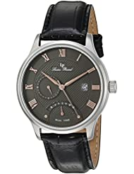 Lucien Piccard Mens Volos Quartz Stainless Steel and Black Leather Casual Watch (Model: LP-10339-014-RA)