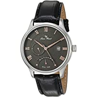 Lucien Piccard Men's 'Volos' Quartz Stainless Steel and Black Leather Casual Watch (Model: LP-10339-014-RA)