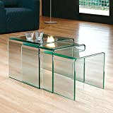 Glass Nest of Three Side Tables By Abode Interiors 12mm (Clear)