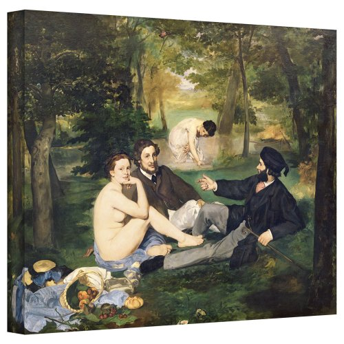 ArtWall manet-006-18x24-w Edouard Manet 'Dejeuner Sur L'Herbe' Gallery-Wrapped Canvas Artwork, 18 by 24-Inch ()