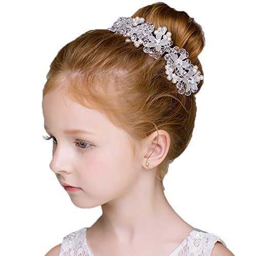 DreamYo Headdress Flowers Crystal Pearls Rhinestones Beading Beautiful Girls Hair Accessories Princess Hair Jewelry Ceremony performce Prom Party Wedding 9 Styles (CZ)