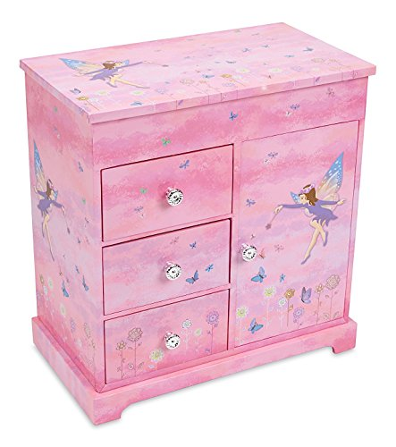 JewelKeeper Musical Box with 3 Pullout Drawers, Fairy and Flowers Design, Dance of the Sugar Plum Fairy Tune -