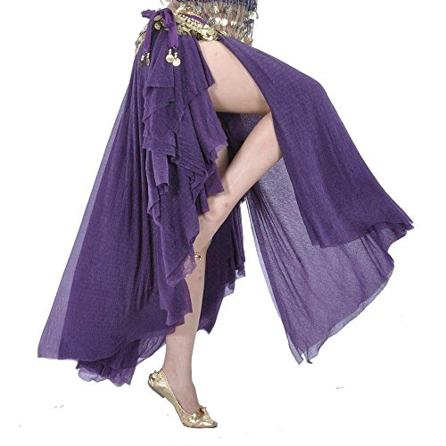 Danzcue Fashion Glass Silk Belly Dance Ear Skirt (L, Deep Purple) (Belly Dance Fashion)