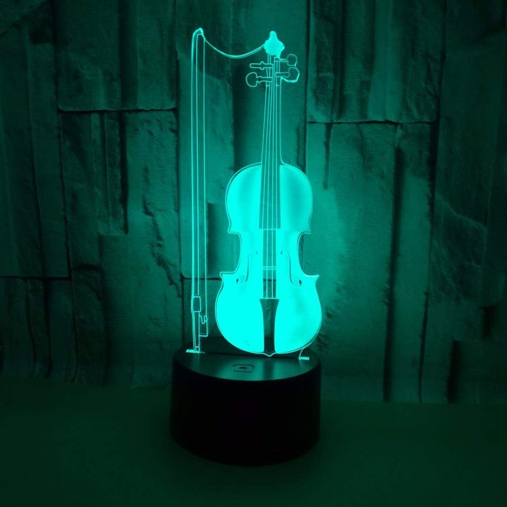 cf604cc2ea7 ... GQFGYYL-TD Violín 3D Nightlight Nightlight Nightlight LED luz de Siete  Coloridos Touch Control Visual ...