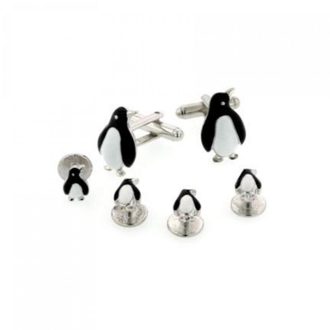 Black & White Penguins Tuxedo Studs and Cufflinks 18890