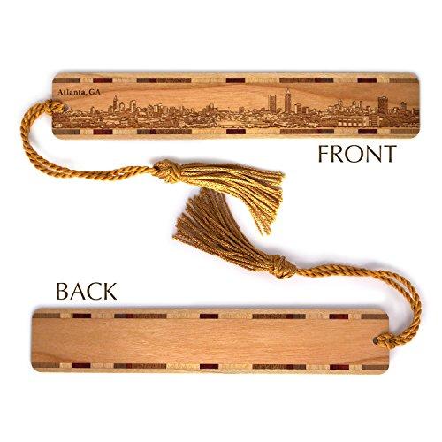 Atlanta Georgia Skyline Engraved Wooden Bookmark with Tassel (Tassels Atlanta)