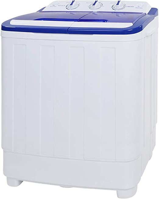ROVSUN 16.6 LBS Portable Twin Tub Washing Machine Great for Home RV Camping Dorms Apartments College Rooms Electric Compact Washer Energy//Save Space Laundry Spin Cycle w// Hose