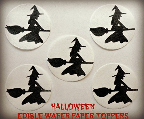 """24 Edible Decorative Wafer Paper Cake Toppers© Small 1.5"""" Diameter HALLOWEEN WITCH SILHOUETTE BROOMSTICK FLYING PRECUT EDIBLE COOKIE CUPCAKE TOPPER"""