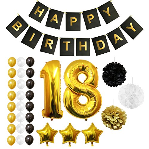 18th Happy Birthday Party Balloons, Supplies & Decorations by Belle Vous - 32 Pc Set - Large 18 Years Foil Balloon 12 Gold, White and Black Latex Balloon Decoration - Decor Suitable for All Adults