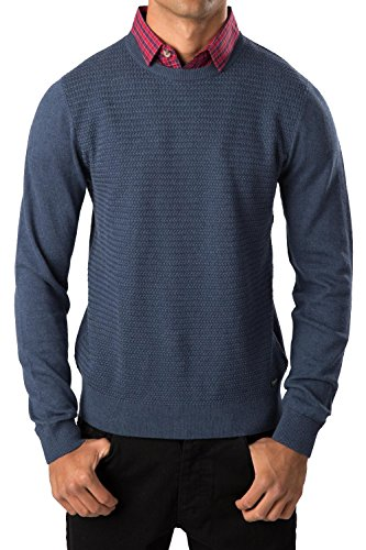 Threadbare Hommes Pull Tricot Geneva Pull Col Rond Faux Col Chemisier Pull-over - Jeans Marne, M - Torse - 99-104cm