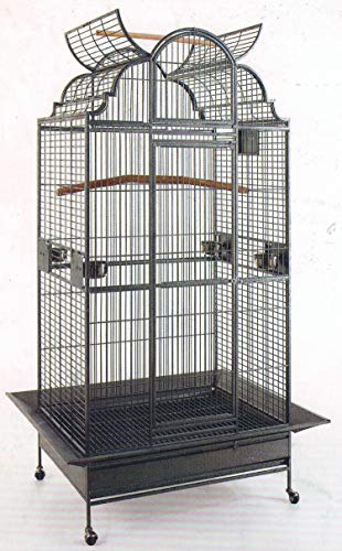 New Large Play Dome Top Wrought Iron Bird Parrot Parttot Finch Macaw Cockatoo Cage Including stand, Seed Guard and Play Top *Black Hammertone*