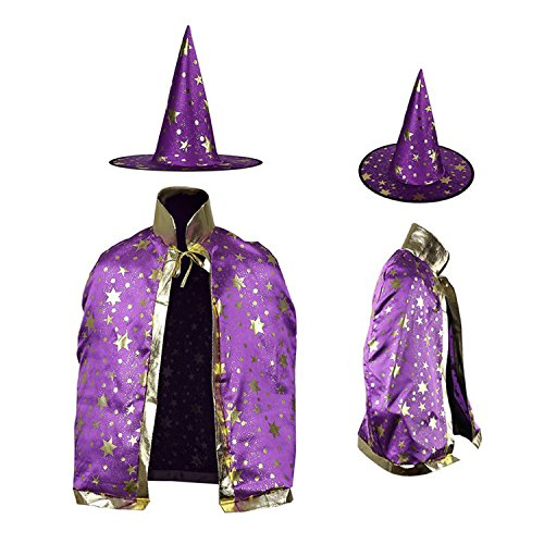 Halloween Costumes Witch Wizard Cloak with Hat for Kids Children Boys Girls Halloween Props Set (Purple)]()