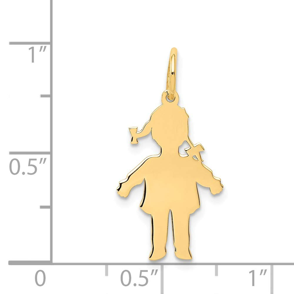 24mm x 4mm Solid 14k Yellow Gold Plain Polished Small Girl Charm Pendant