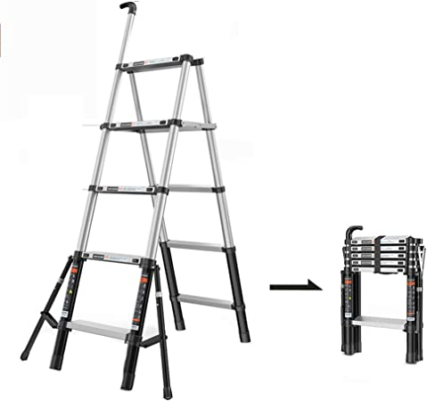 GYL Escaleras telescópicas Portátil Telescópica Escalera Plegable, Antideslizante Loft Escalera con La Barandilla, Household Escaleras de Tijera, (150 Kg Capacidad Plegable) (Size : 5-Step Ladder): Amazon.es: Hogar