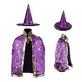 Dee Banna Halloween Costumes Witch Wizard Cloak with Hat for Kids Children Boys Girls Halloween Props Set