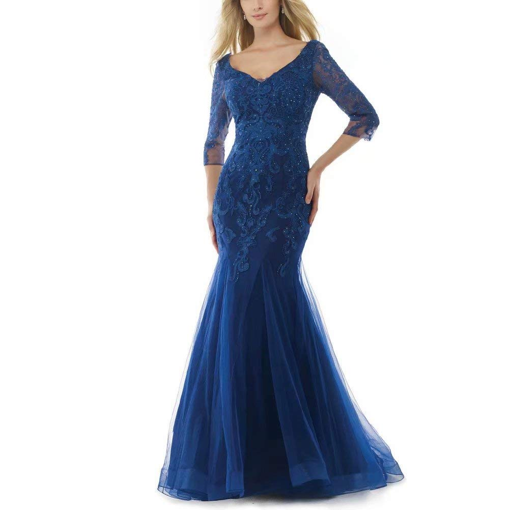 Unions Women V Neck Long Sleeves Mother of The Bride Dress Beaded Tulle Long Formal Prom Dress