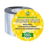 350 Ft. (106.6m) Roll Bird Repellent Scare Tape, Simple Bird Control Device to Keep Birds Away. Stops Damage and Scares Birds. Deterrent Works Great with Netting, Spikes, or a Scarecrow