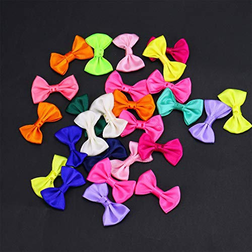 (Monrocco 100 Pcs Mixed Color Mini Satin Ribbon Bows Flower Appliques Ribbon Bow Tie Embellishments for Crafts Headbands Sewing)