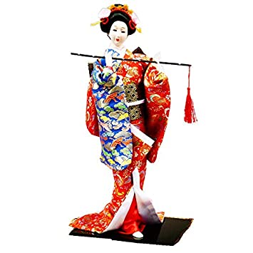 JG.Betty 22 55cm Japanese Folk Kimono Geisha Doll Maiko Doll Puppet Stand on Base for Decorative Home and Hotel Gifts Doll 22 Inch, Red Doll JD0029