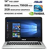"2016 Newest Asus K Series 14"" Ultra Slim 1920 x 1080 Full HD Non-Touch Laptop, Intel Core i7-5500U, 8GB RAM, 750GB HDD, NVIDIA GeForce 940M GDDR3 2GB, HDMI, Webcam, WIFI, Windows 10, Black"