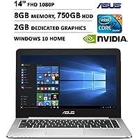 2016 Asus K Series 14 Ultra Slim 1920 x 1080 Full HD Non-Touch Laptop, Intel Core i7-5500U, 8GB RAM, 750GB HDD, NVIDIA GeForce 940M GDDR3 2GB, HDMI, Webcam, WIFI, Windows 10, Black
