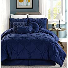 Sydney 7-piece Pintuck Duvet Cover Set w/ Corner Ties (Navy, Queen)