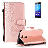 Funyye Folio Wallet Case for Sony Xperia XA2,Elegant Rose Gold Dandelion Embossed Pattern Strap Magnetic Flip Soft Silicone PU Leather Case for Sony Xperia XA2,Stand Function with Credit Card Holder Slots Case + 1 x Free Screen Protector