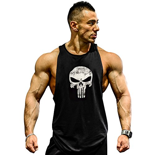 Mens Skull Print Stringer Bodybuilding Gym Tank Tops Workout Fitness Vest (Medium, Black)