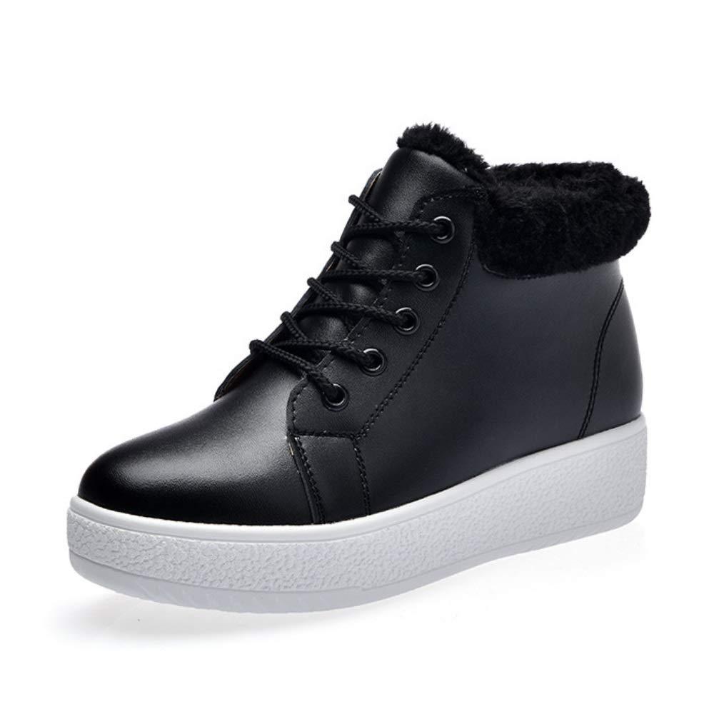 LIANGXIE Frau Schnee Stiefel Winter Boot Frau Korean Fashion Dicke Sohlen Studenten Warm Plus Velvet Mid-Cut Baumwolle Schuhe Damenschuhe