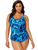 Swimsuits For All Women's Plus Size Blue Green Sarong Front One Piece Swimsuit 18 Multi
