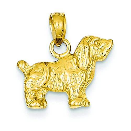14K Yellow Gold Cocker Spaniel Dog Charm Pendant
