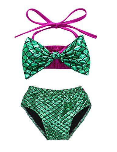 Baby Girls Mermaid Halter Bowknot Bikini Set Swimsuit Bathing Suit (100(18-24M))