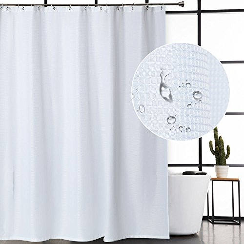 CAROMIO Extra Long Shower Curtain with 84 Inch Height, Waffle Weave Polyester Fabric Shower Curtains for Bathroom Washable, White, 72x84 Inch