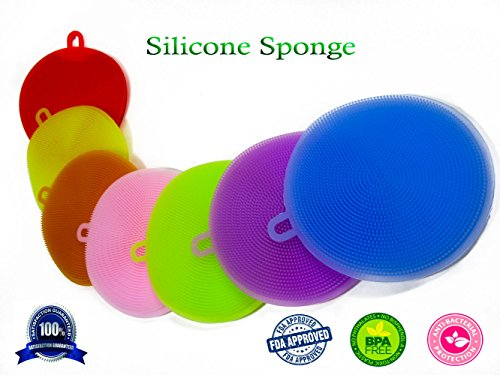 Silicone sponge antibacterial dishwasher, removes dirt faster, resistant and quality, multiple uses for cleaning in the kitchen simple and easy use, bag of 7 multicolors