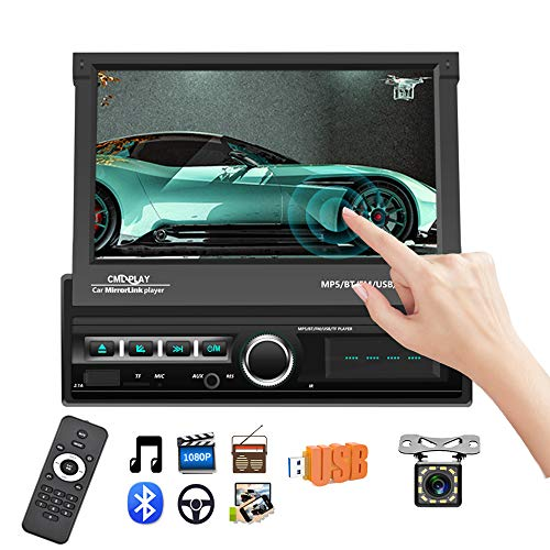 Podofo Single Din Car Stereo Indash 7″ Motorized & Retractable HD Touch Screen Bluetooth Car Radio MP5 Player Support FM/AUX-in/USB/SD/Mirror Link + Wireless Remote + Backup Camera