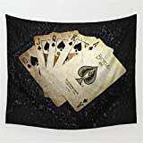YQ Park Geometric Poker Vintage Hippie Tapestry Traditional Cotton Print Hippie Wall Art Tapestry Bedroom And Living Room (59.1''X78.7'')