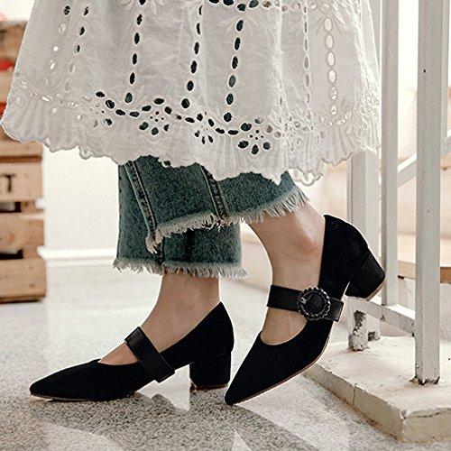 Femmes Boucle Satin Pointu Orteil Bloc Talons Haute Mary Janes Strappy Vintage Soirée Court Chaussures Black bWWAwu