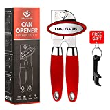 Can Opener Manual Smooth Edge, Portable Stainless Steel Safety Manual Tin Can Openers Effortless and Durable, Comfortable Grip, No Rust, Easy Swing Away Can Openers with FREE Bottle Opener