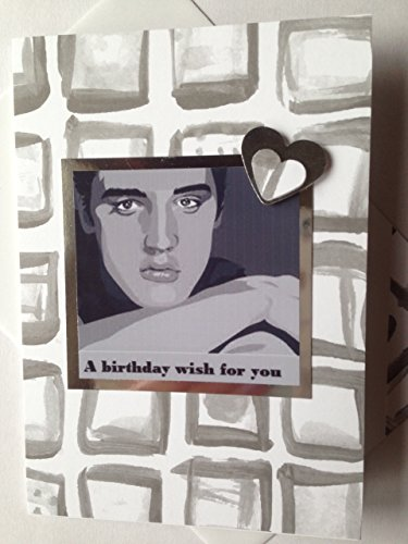 ELVIS PRESLEY handmade BIRTHDAY greetings card American singer, actor, Grey and white Happy Birthday Thanks Best friend Card The King matching envelope A6/C6 -