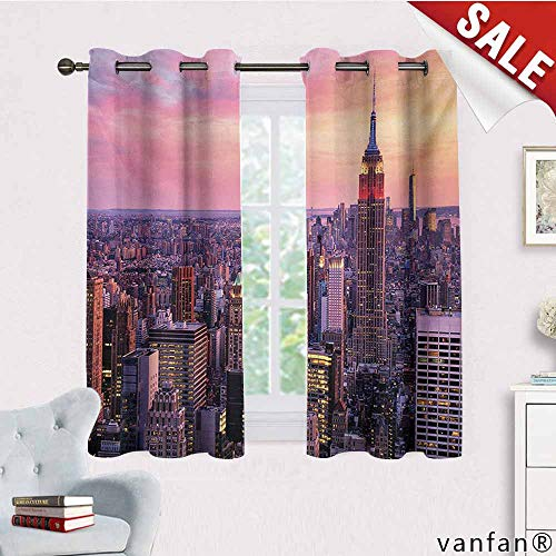 Big datastore Customize Grommet Curtain,Cityscape,New York City Midtown with Empire State Building Sunset Business Center Rooftop Photo,Decoration for Windows,Peach,W63 Xl63 ()