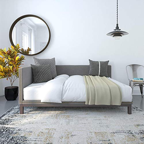 DHP Dale Upholstered Daybed/Sofa Bed Frame, Full Size, Grey Linen