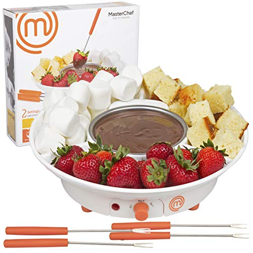 MasterChef Chocolate Fondue Maker- Deluxe Electric Dessert Fountain Fondue Pot Set with 4 Forks and Party Serving Tray (1) (Electric Fork)