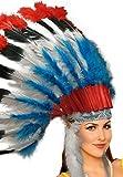 Unisex Native American Feather Headdress (Red/Black/White/Blue)