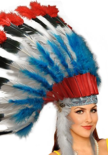 Adult Unisex Native American Feather Headdress (Red/Black/White/Blue)
