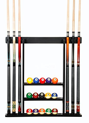 Cue Rack Only - 6 Pool Cue - Billiard Stick Wall Rack Made of Wood Black Finish