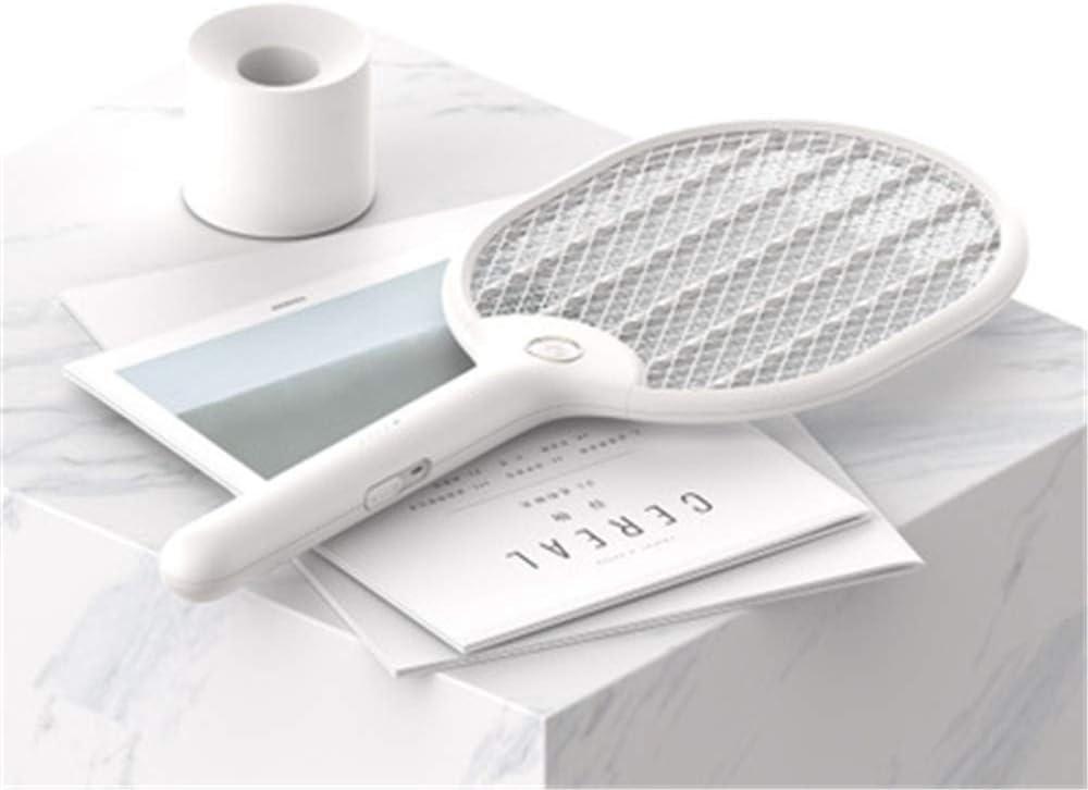 NOOTU Raqueta de Tenis Recargable USB para Mosquitos Swatter el/éctrica con Safety Touch Net y Linterna incorporada,White