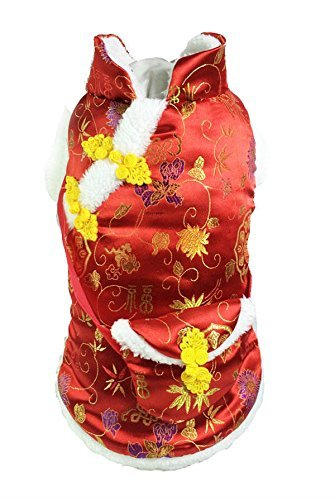 Dogloveit Chinese New Year Style Costume Clothes for Dog Cat Puppy Pet, Red, (Cheap Dog Costume)