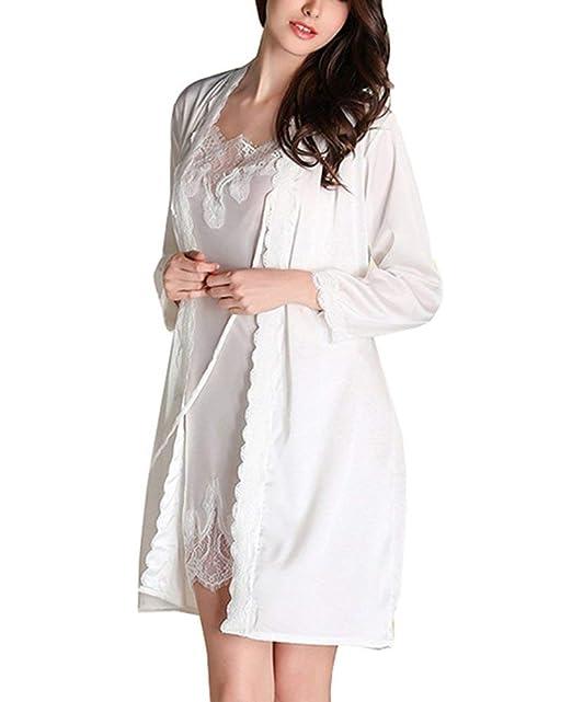 Bata De Seda para Mujer con Vestido De Ropa Noche Pijama Largo De Encaje Camisón Pijama De Dos Piezas Noche Cálida SH: Amazon.es: Ropa y accesorios