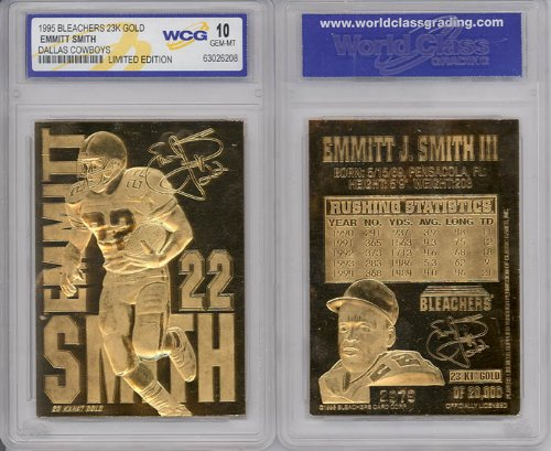 1995 EMMITT SMITH COWBOYS 23K GOLD CARD - Gold Nfl Signature Football